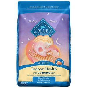 Blue Buffalo Blue Indoor Health Adult Chicken & Brown Rice Recipe Dry Cat Food, 15 lbs.