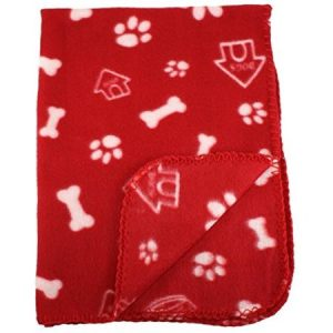 30×21 Inch Dog / Cat Fleece Blanket – Bone and Paw Print Assorted Color Pet Blankets by bogo Brands (Red)