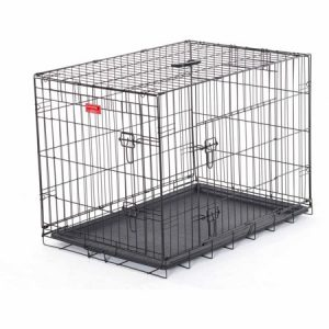 36″L Lucky Dog Folding Black Wire 2 Door Training Crate