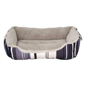 ASPCA Striped Cuddler Dog & Pet Bed, Medium, Gray