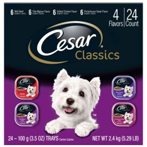 CESAR CANINE CUISINE Wet Dog Food Beef, Filet Mignon, Grilled Chicken, and Porterhouse Steak Variety Pack, (24) 3.5 oz. Trays