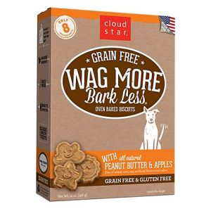 Cloud Star Wag More Bark Less Oven Baked Grain Free Peanut Butter & Apples Dog Treats, 14 oz.