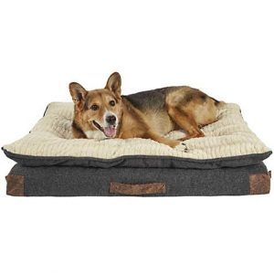 Harmony Grey Patched Pillowtop Lounger Orthopedic Dog Bed, 40″ L x 30″ W