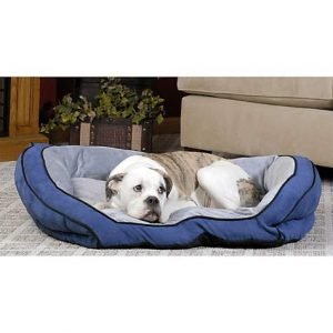 K&H Bolster Couch Dog Bed in Blue & Gray, 28″ L x 40″ W