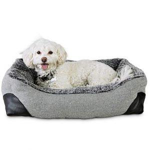 Modern Luxe Stone Herringbone Box Dog Bed, 24″ L X 18″ W X 6″ H