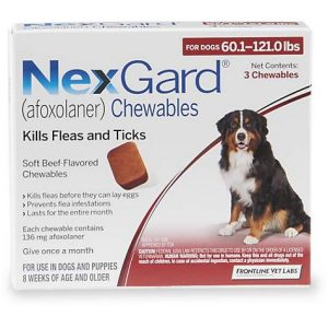 NexGard Chewables – Orange for Dogs 60.1 to 121 lbs., 3 Pack