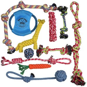 Pacific Pups Products Dog Rope Toys for Aggressive Chewers – Set of 11 Nearly Indestructible Dog Toys